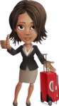 African American female with black coat vector character pack of poses - Kim the Office Lady - Travel1