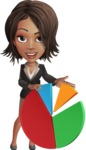 African American female with black coat vector character pack of poses - Kim the Office Lady - Chart