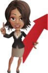 African American female with black coat vector character pack of poses - Kim the Office Lady - Pointer