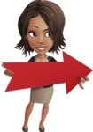 African American female with black coat vector character pack of poses - Kim the Office Lady - Pointer2