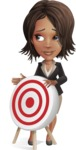 African American female with black coat vector character pack of poses - Kim the Office Lady - Target