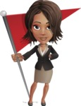 African American female with black coat vector character pack of poses - Kim the Office Lady - Checkpoint