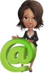 African American female with black coat vector character pack of poses - Kim the Office Lady - Email