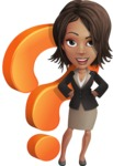 African American female with black coat vector character - Question