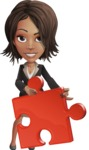 African American female with black coat vector character pack of poses - Kim the Office Lady - Puzzle