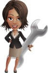 African American female with black coat vector character - Repair