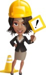 African American female with black coat vector character pack of poses - Kim the Office Lady - Under Construction1