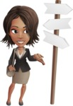 African American female with black coat vector character pack of poses - Kim the Office Lady - Crossroad