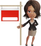 African American female with black coat vector character pack of poses - Kim the Office Lady - Sign9