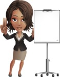 African American female with black coat vector character pack of poses - Kim the Office Lady - Presentation1