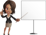 African American female with black coat vector character pack of poses - Kim the Office Lady - Presentation2