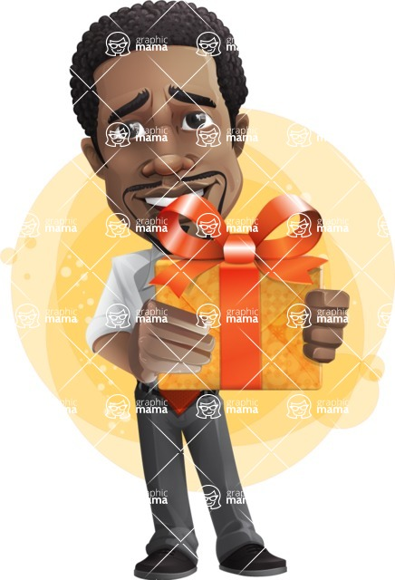 African American male character with a black hair - Vector pack of poses - GraphicMama's Bestseller  - Shape7