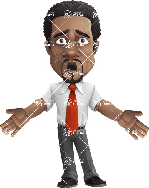African American male character with a black hair - Vector pack of poses - GraphicMama's Bestseller  - Shocked