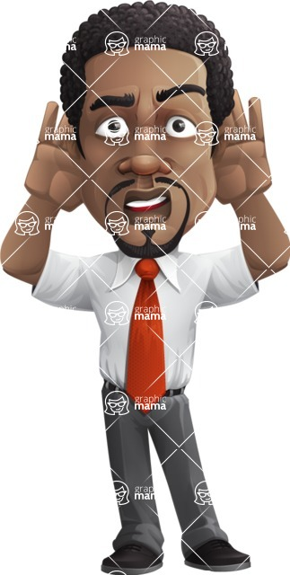 African American male character with a black hair - Vector Illustrations - Confused