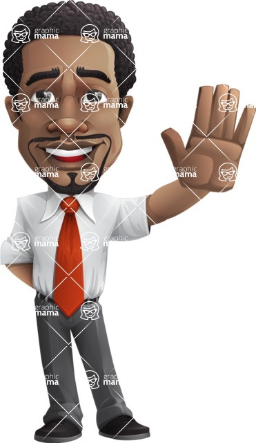 African American male character with a black hair - Vector pack of poses - GraphicMama's Bestseller  - Hello