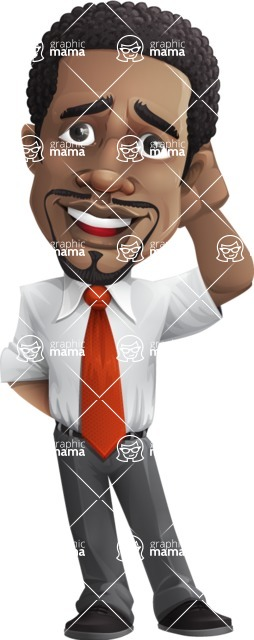 African American male character with a black hair - Vector Illustrations - Oops