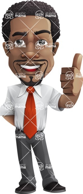 African American male character with a black hair - Vector pack of poses - GraphicMama's Bestseller  - Thumbs Up