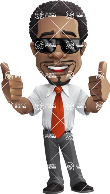 African American male character with a black hair - Vector pack of poses - GraphicMama's Bestseller  - Sunglasses2