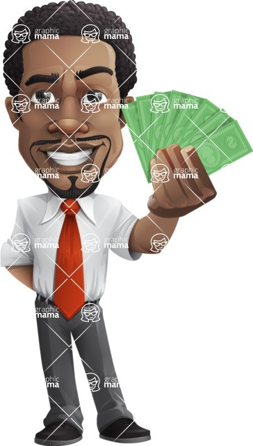 African American male character with a black hair - Vector pack of poses - GraphicMama's Bestseller  - Show me the money
