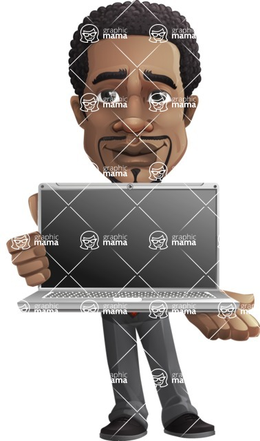 African American male character with a black hair - Vector pack of poses - GraphicMama's Bestseller  - Laptop