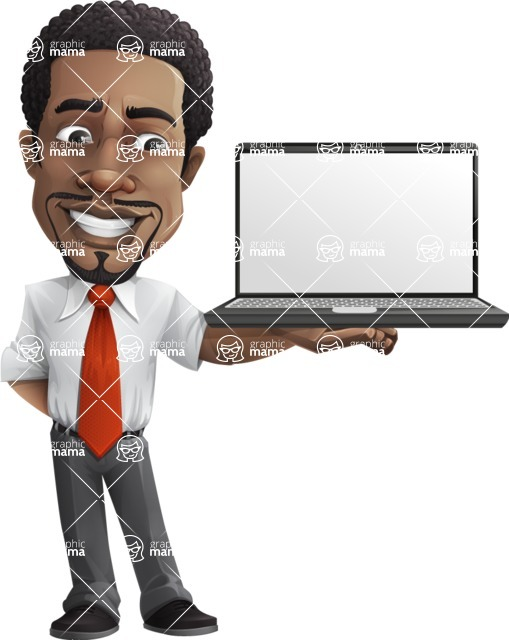 African American male character with a black hair - Vector pack of poses - GraphicMama's Bestseller  - Laptop2