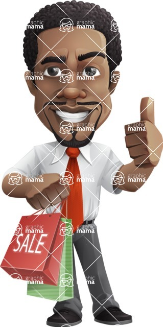 African American male character with a black hair - Vector Illustrations - Sale