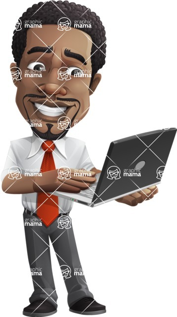 African American male character with a black hair - Vector pack of poses - GraphicMama's Bestseller  - Laptop3
