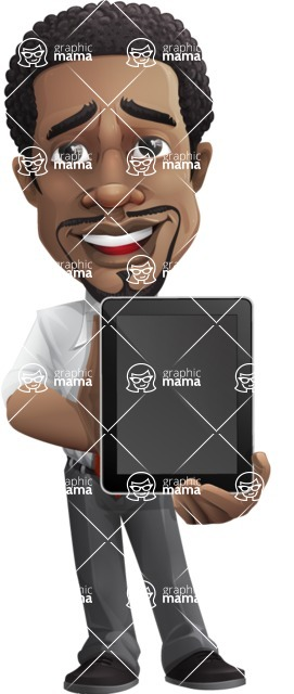 African American male character with a black hair - Vector pack of poses - GraphicMama's Bestseller  - iPad1