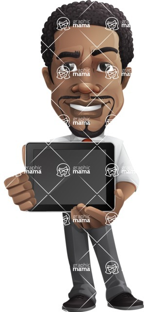 African American male character with a black hair - Vector pack of poses - GraphicMama's Bestseller  - iPad2