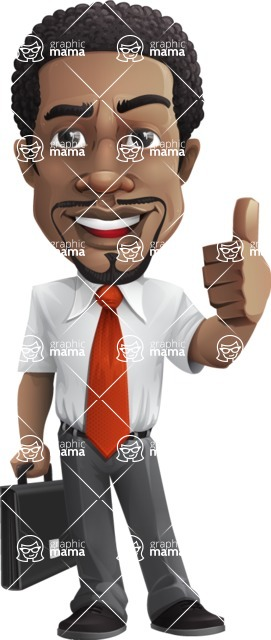 African American male character with a black hair - Vector pack of poses - GraphicMama's Bestseller  - Briefcase