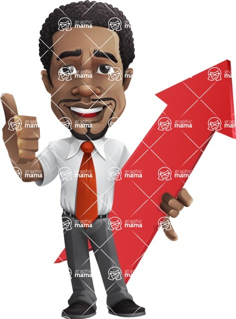 African American male character with a black hair - Vector pack of poses - GraphicMama's Bestseller  - Arrow1