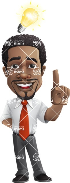 African American male character with a black hair - Vector pack of poses - GraphicMama's Bestseller  - Idea1