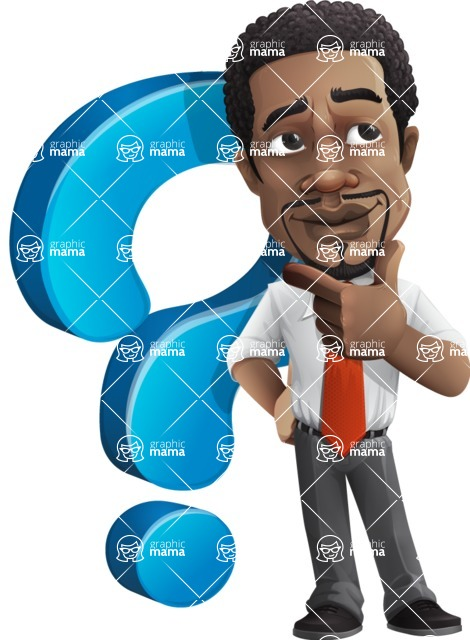 African American male character with a black hair - Vector pack of poses - GraphicMama's Bestseller  - Questions