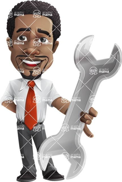 African American male character with a black hair - Vector Illustrations - Repair