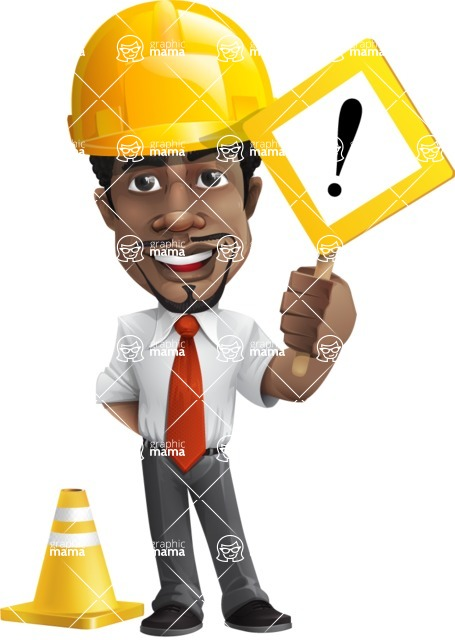 African American male character with a black hair - Vector pack of poses - GraphicMama's Bestseller  - Under Construction1