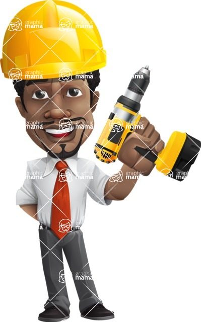 African American male character with a black hair - Vector Illustrations - Under Construction2