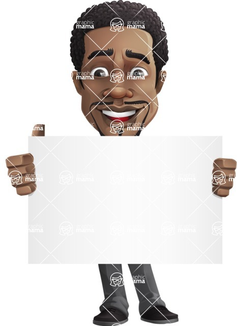 African American male character with a black hair - Vector pack of poses - GraphicMama's Bestseller  - Sign1