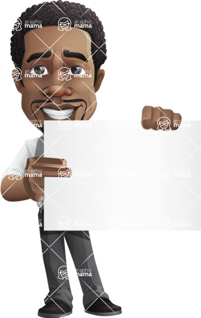 African American male character with a black hair - Vector pack of poses - GraphicMama's Bestseller  - Sign3