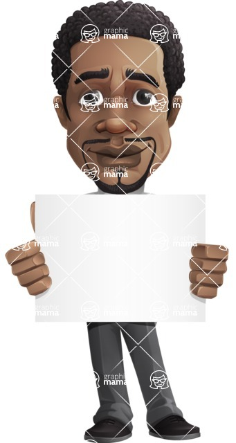 African American male character with a black hair - Vector pack of poses - GraphicMama's Bestseller  - Sign5