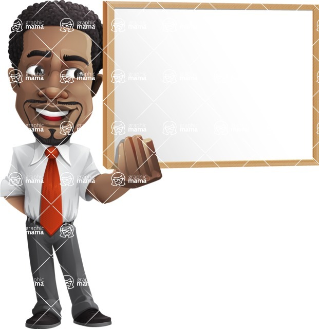 African American male character with a black hair - Vector pack of poses - GraphicMama's Bestseller  - Presentation1
