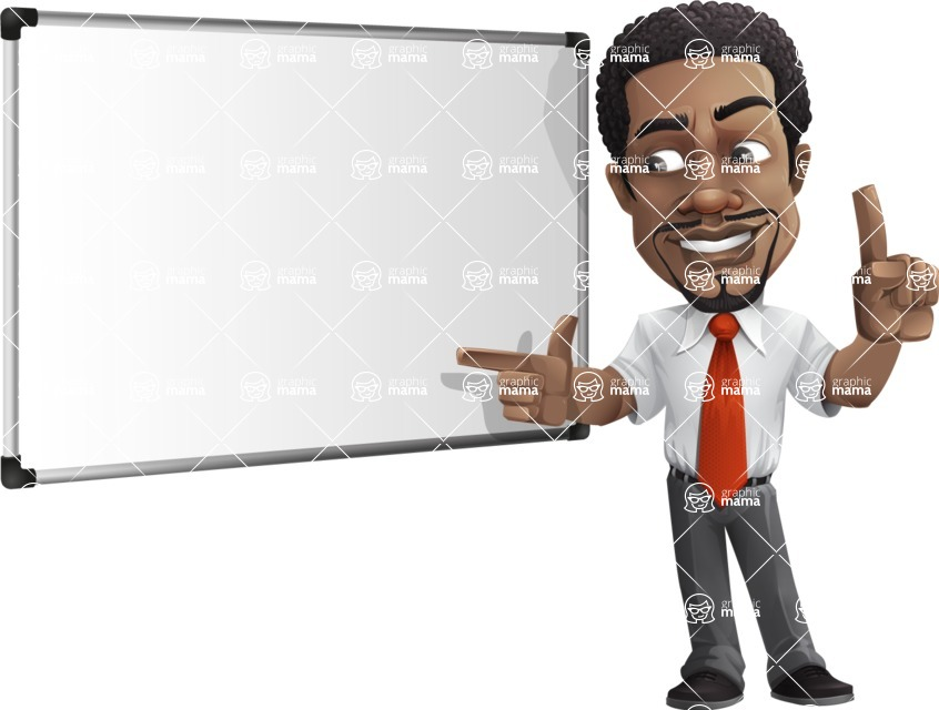 African American male character with a black hair - Vector pack of poses - GraphicMama's Bestseller  - Presentation5