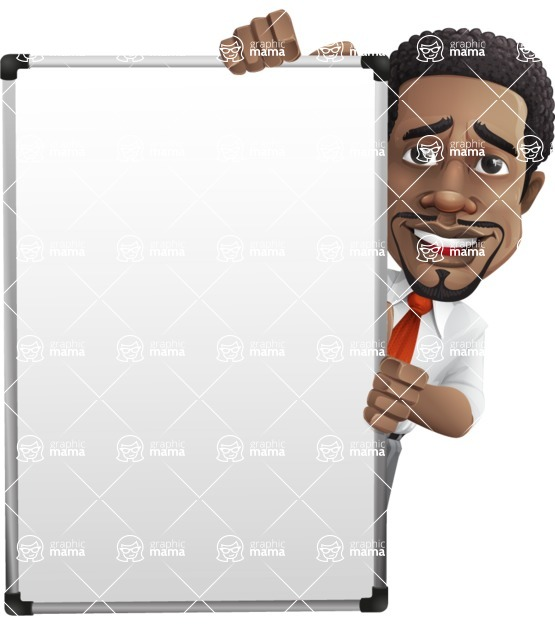 African American male character with a black hair - Vector Illustrations - Presentation6