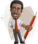African American male character with a black hair - Vector Illustrations - Shape8