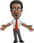 African American male character with a black hair - Vector Illustrations - Shocked
