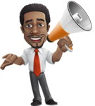 African American male character with a black hair - Vector Illustrations - Loudspeaker