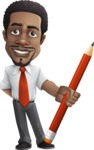 African American male character with a black hair - Vector Illustrations -  African American male character with a big pencil