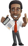 African American male character with a black hair - Vector Illustrations -  African American male character calculator