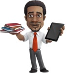 African American male character with a black hair - Vector Illustrations - Book and iPad