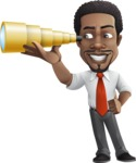 African American male character with a black hair - Vector Illustrations - Telescope