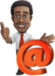 African American male character with a black hair - Vector Illustrations - Email